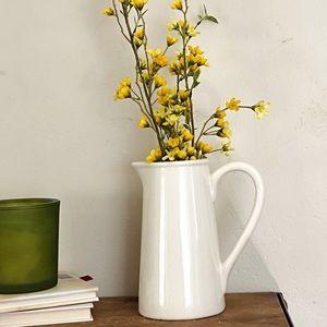 Pretty Vintage White Farmhouse Pitcher Vase Decor